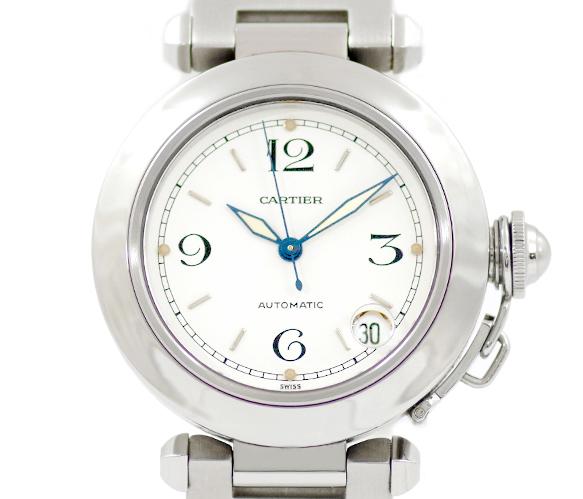 Cartier カルティエ パシャC W31015M7 白 ホワイト 文字盤 SS ステンレス レディース ボーイズ メンズ ユニセックス 自動巻き【6ヶ月保証】【腕時計】【中古】