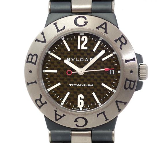 BVLGARI ブルガリ ディアゴノ チタニウム TI38TA デイト カーボン ブラック 文字盤 チタン ラバー メンズ 自動巻き【腕時計】【中古】