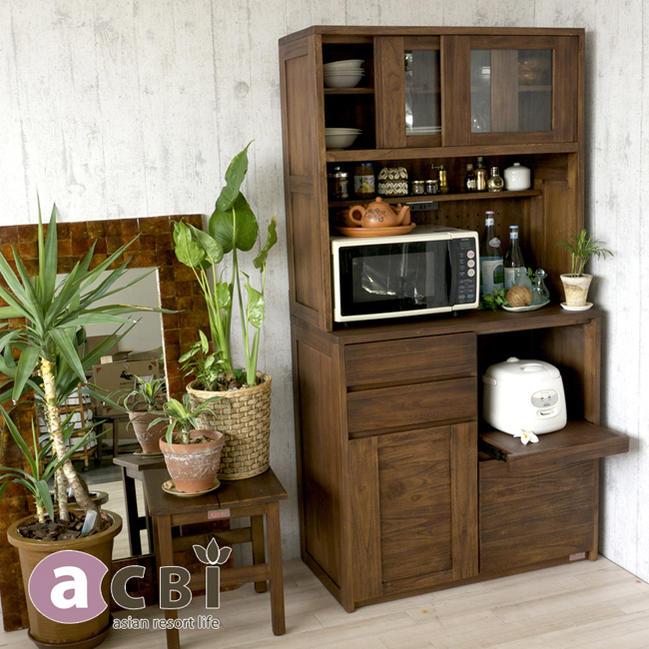 アジアンリゾートの木製キッチンボード 南国バリ島のカフェやレストランのようなリラックス空間に演出 世界三大銘木チーク無垢材を贅沢に使用した食器棚 ナチュラル acbi アクビィ VILLA ACK719KA