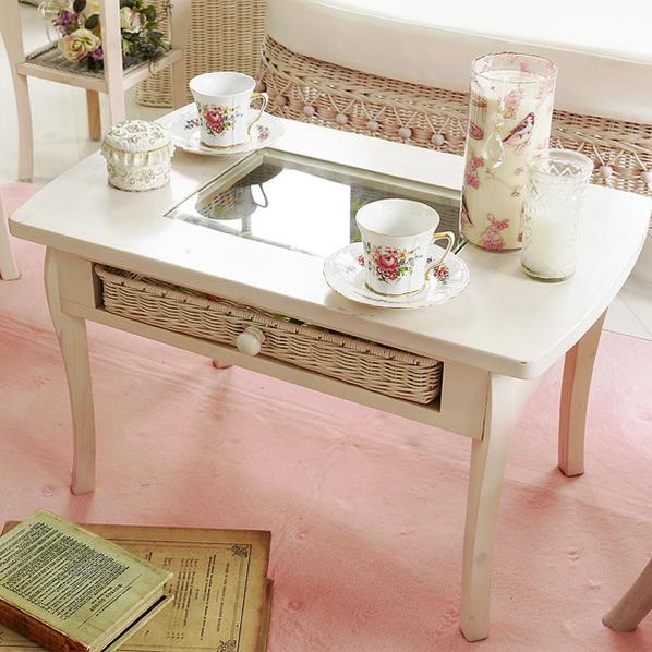 テーブル ラタン製引き出し 薄めのホワイトウォッシュ色 木製 収納 かわいい 机 ディスプレイ ローテーブル センターテーブル 白い T803WW