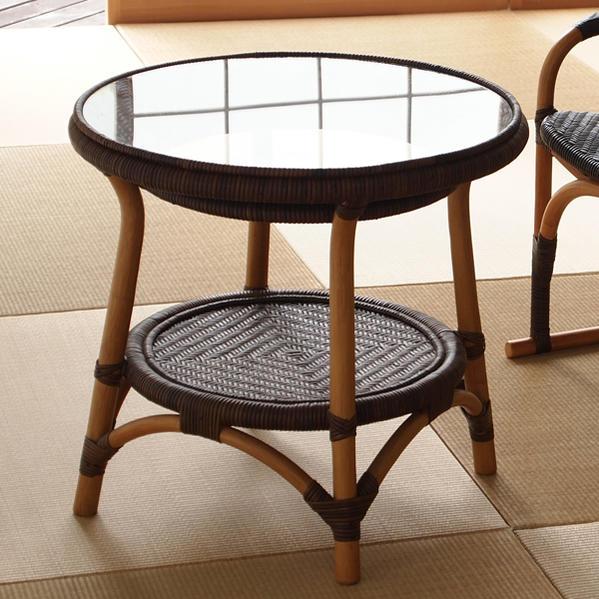 ラタン手編みガラステーブル カフェで過ごすようなおしゃれなラウンドテーブル 籐製で軽いので移動が楽々 創業100年 籐家具専門メーカーの技術 ハンドメイド T114CB