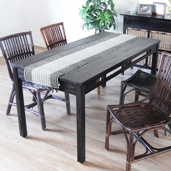 ダイニングテーブル 150cm幅 4人用 天板 木製 無垢材 アジアン バリ ナチュラル 家具 リゾート 食卓 創業100年 家具専門メーカーの技術 T570AT 組立