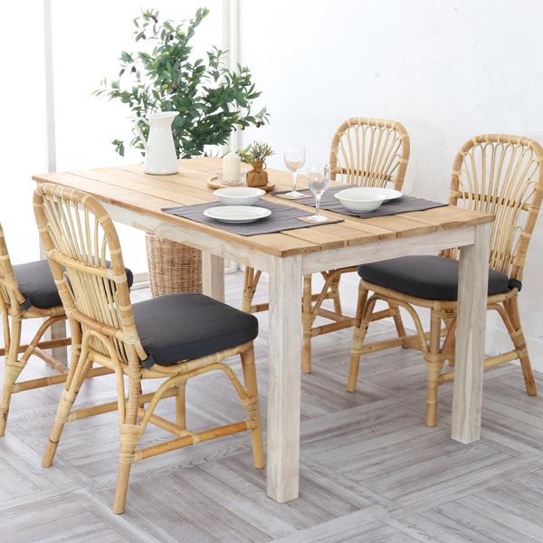 ダイニングテーブル 150cm幅 4人用 食卓 木製 チーク 無垢材 天板無塗装 ナチュラル インダストリアル T850WW