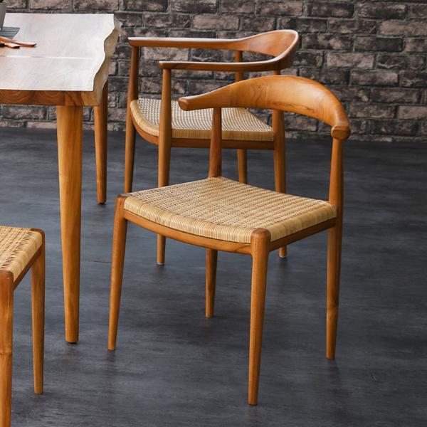 ダイニングチェア ダイニングチェアー 食卓椅子 イス 北欧 ナチュラル デザイン テイスト 木製 無垢材 チーク材 ラタン やわらかい座り心地 家具 カフェ レストラン 創業100年籐家具専門メーカー IDENTITY C310WX