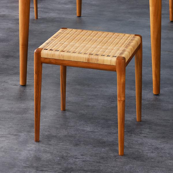スツール チェア 椅子 イス 木製 チーク材 ラタン 籐製 デザイン ナチュラル 返品送料無料 北欧 好評 S110WX やわらかい座り心地 IDENTITY