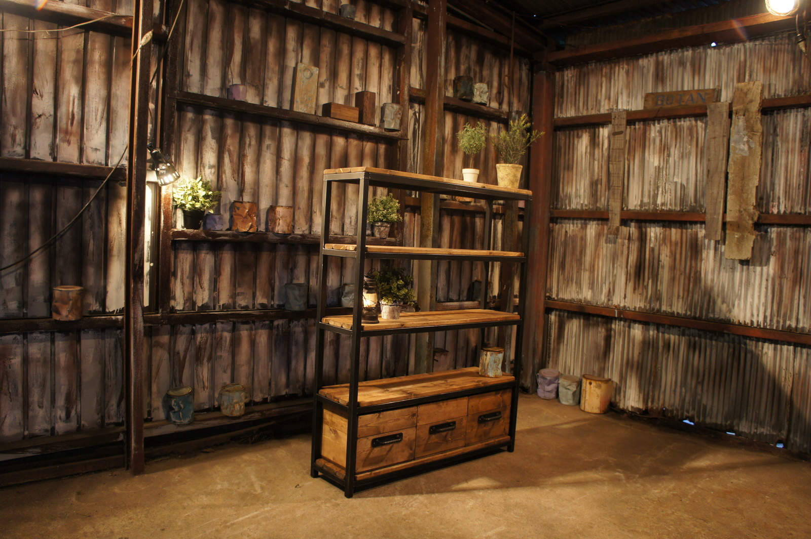 アイアン&ウッド木箱付きシェルフ    W1000  B=ナチュラルダークブラウン