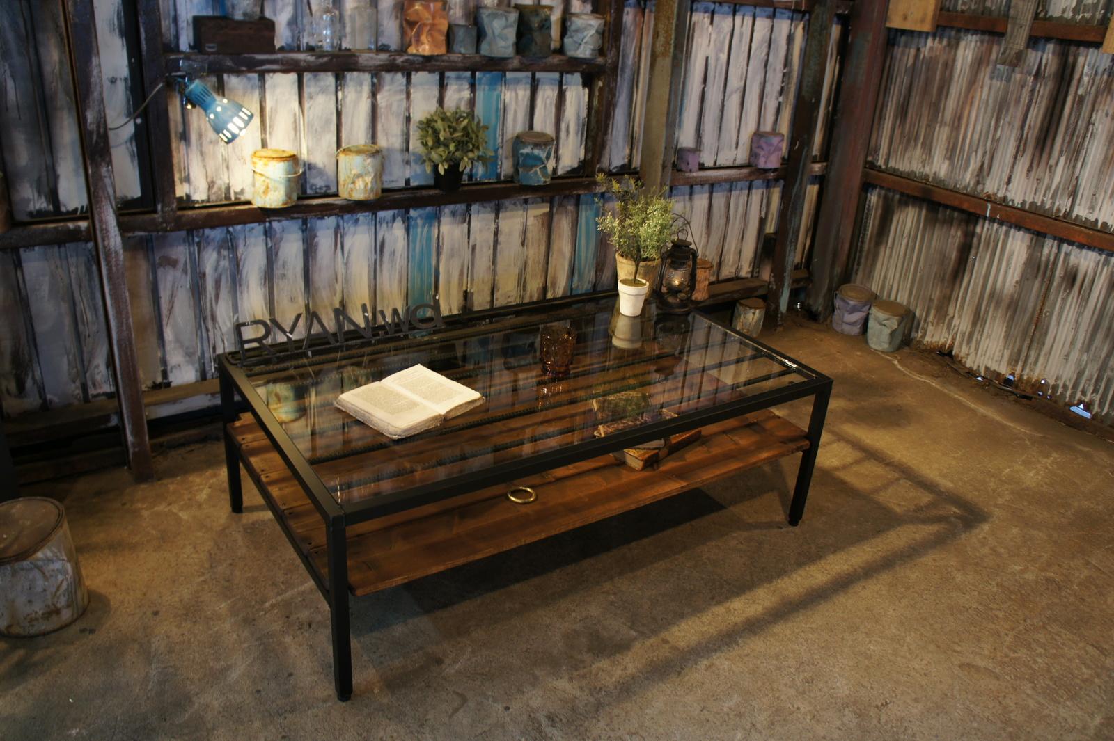 アイアン&ウッド ガラステーブル    W1000  C=チョコブラウン