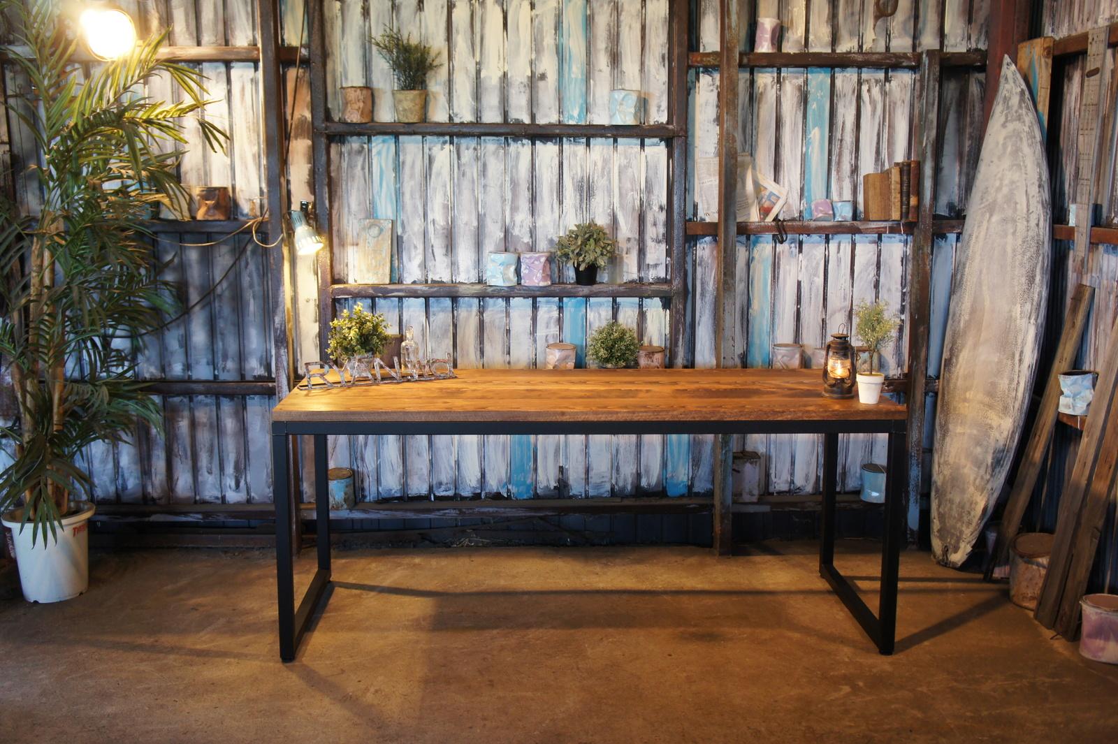 アイアン&ウッド 新潟県魚沼産スノービーチ材 ダイニングテーブル  B=ナチュラルダークブラウン ロの字脚 組立式