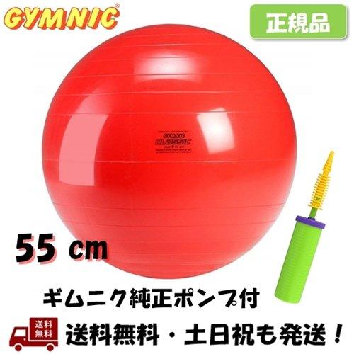 ギムニク GYMNIC ボール 55 cm 赤 純正ポンプ付 バランスボール 2点セット 55cm ギムニク純正ダブルアクション 新色追加 -正規品- ハンドポンプ 好評受付中