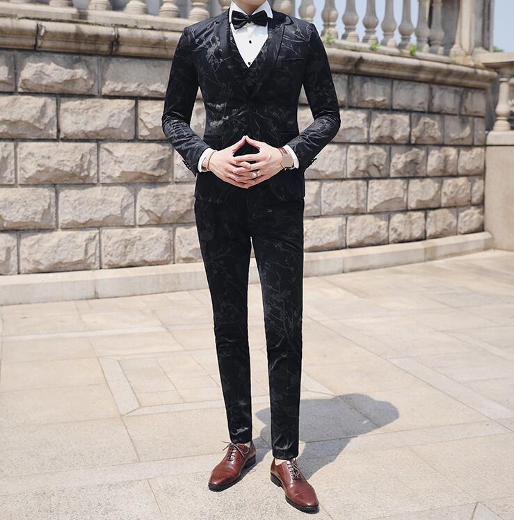 高品質 紳士用 花柄スーツ メンズ 3ピーススーツ スリムスーツ フォーマル 結婚式 通勤 入学式 成人式 秋冬春★花婿の介添え 紳士用 OL 20代30代40代 タキシードジャケット+ベスト+パンツ 二つボダンスーツ カジュアル M/L/XL/2XL/3XL 格好いい