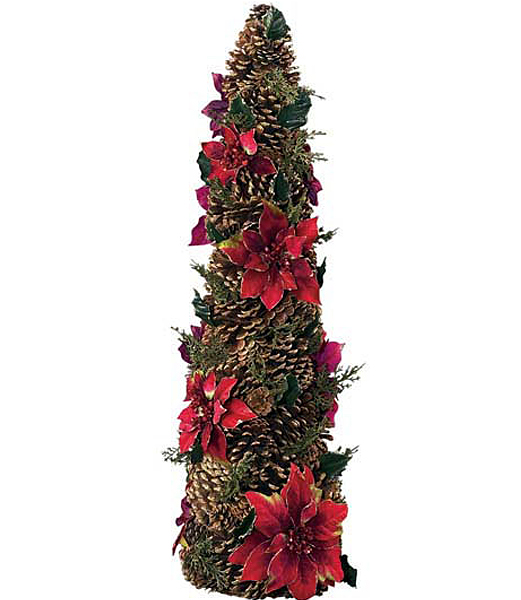 ★造花 クリスマスツリー装飾 80cm コロニアルポインセチアコーン DICO6993【フェイク グリーン インテリア 人口観葉植物】