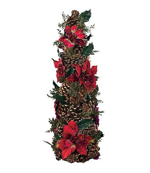 60cm コロニアルポインセチアコーン 造花 クリスマスツリー装飾 DICO6994【フェイク グリーン インテリア 人口観葉植物】