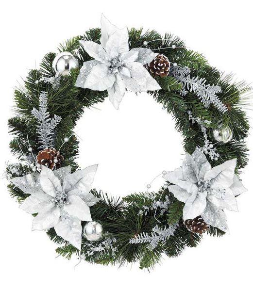 ★クリスマスリース 造花 フラワー 装飾45cm オーロラシルバーポインセチアリース [DIWR61005]
