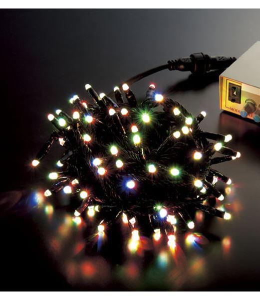 ★クリスマスツリー電飾 耐水100球丸型LED-RGBライト/ブラックコード(コネクター付き) [PALI61064]