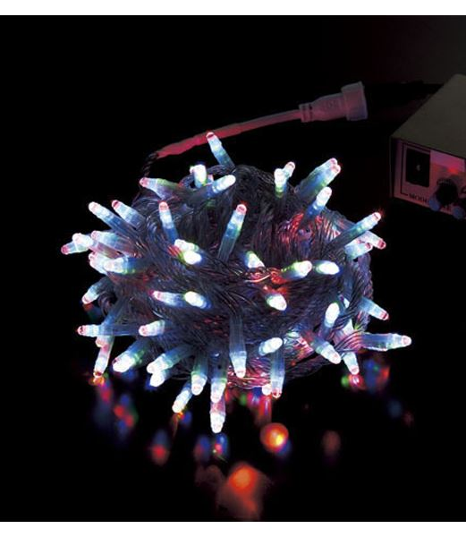 ★クリスマスツリー電飾 耐水100球丸型LED-RGBライト/クリアコード(コネクター付き) [PALI61065]