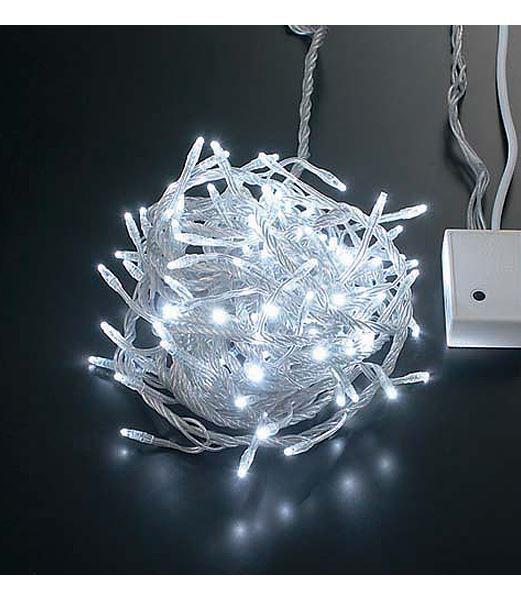 ★クリスマスツリー電飾 耐水100球LEDホワイトライト/クリアコード(8機能コントローラー パワーコード付) [PALI6051]