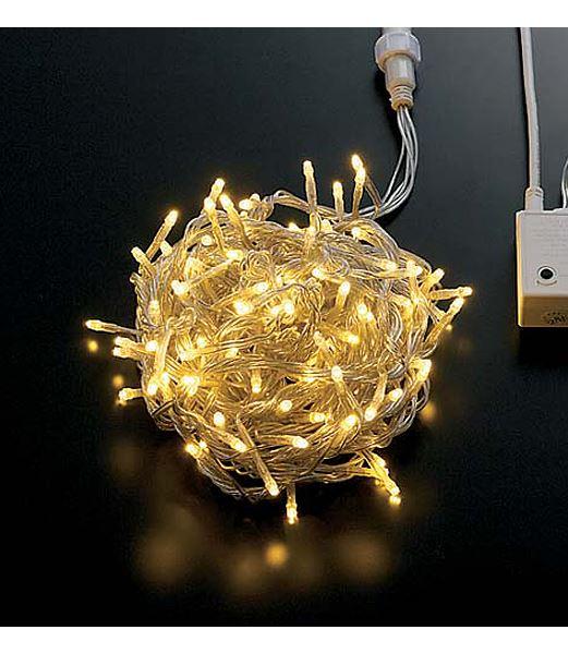 ★耐水100球LEDウォームホワイトライト/クリアコード(8機能コントローラー パワーコード コネクター付き) [PALI61001]