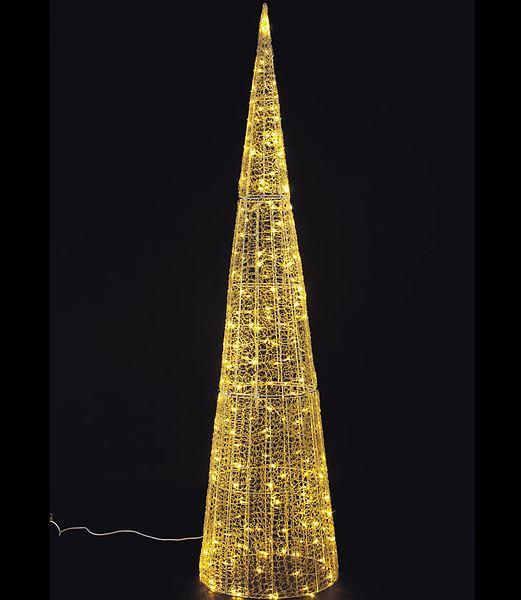 ★クリスマスツリーライト イルミネーション 耐水240cm216球広角型LEDシャンペーングロー立体コーン/常点灯 [DILI61080]