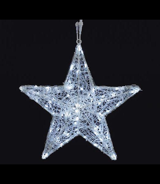 LEDホワイトグロー立体スター(8機能コントローラー付き) クリスマスツリーライト 耐水60cm100球広角型 [DILI61073]