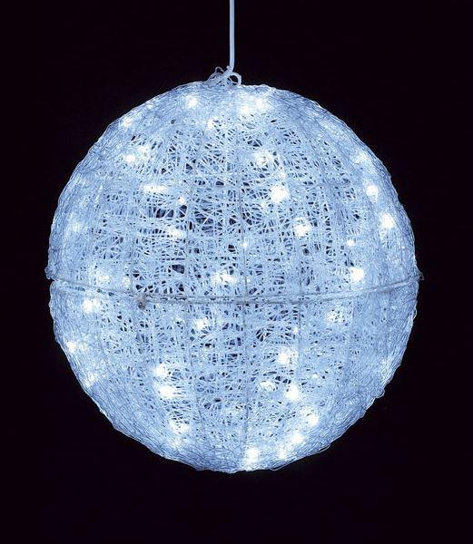 ★クリスマスツリーライト イルミネーション 耐水45cm100球広角型LEDホワイトグロー立体ボール/常点灯 [DILI61067]