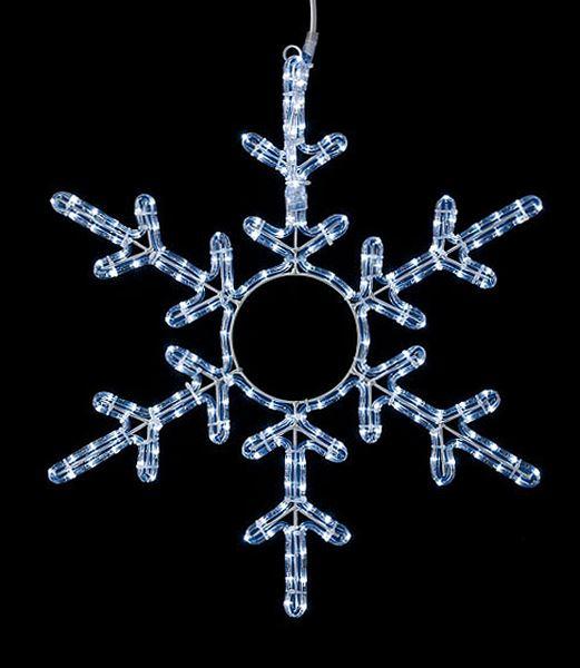 ★クリスマス電飾 耐水60cm198球広角型LEDホワイトロープライトスノーフレーク/常点灯(パワーコード付き) [DILI61197]