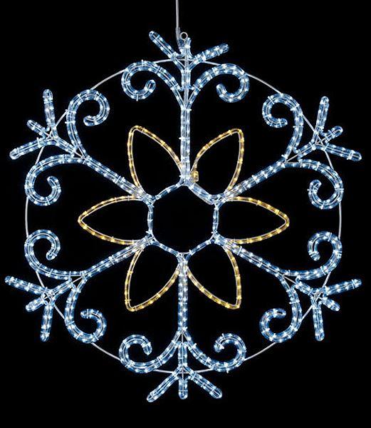 ★耐水100cm582球広角型LEDホワイトシャンペーンロープライトスノーフレーク/常点灯(パワーコード付き) [DILI61194]