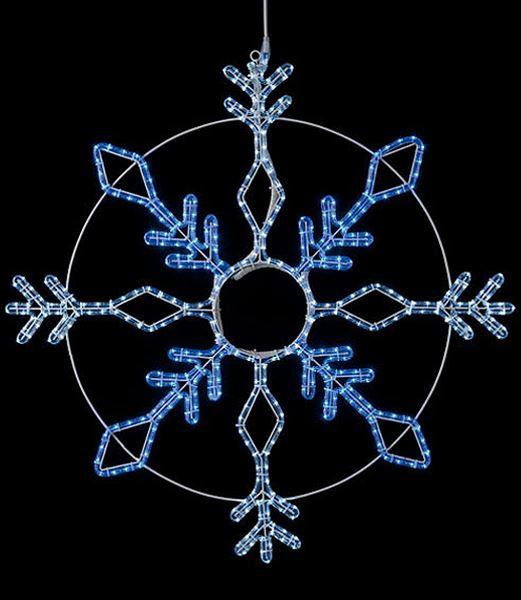 ★電飾 耐水100cm384球広角型LEDホワイトブルーロープライトスノーフレーク/常点灯(パワーコード付き) [DILI61195]