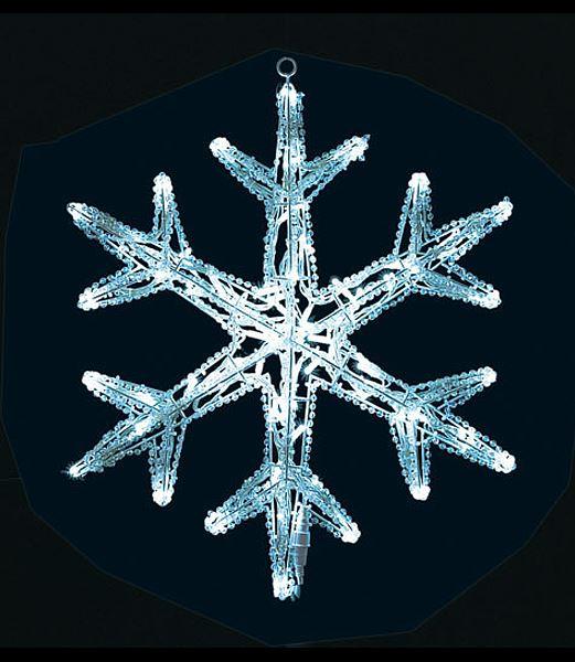 LEDホワイト立体スノーフレークライト/常点灯  クリスマスイルミネーション 電飾 耐水65cm [DILI61006]