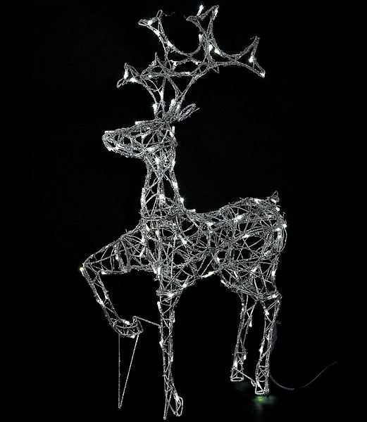★クリスマスイルミネーションライト 電飾 耐水105cmLED立体シルバーレインディア/常点灯 [DILI61036]