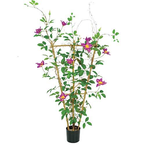 90cmクレマチスバイン(フェンス仕立て) 造花 フラワー 観葉植物 [LETR3664]【フェイク グリーン 資材 人工観葉植物】