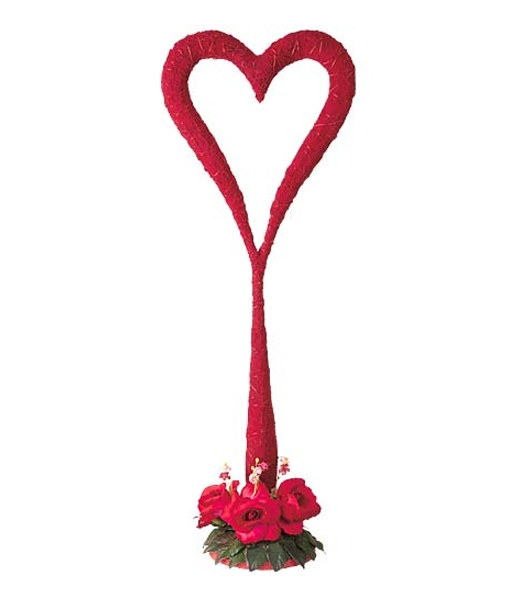 70cm レッドベルベットハートスタンド バレンタイン 結婚式 装飾デコレーション [DIHE9991]