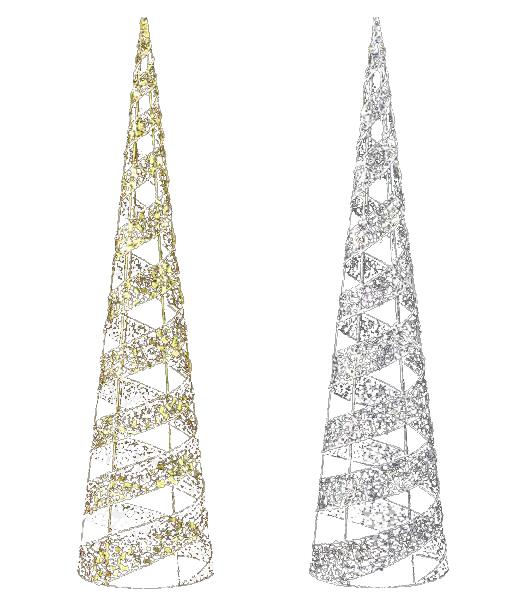 90cm グリッターワイヤースパイラルコーン クリスマスツリー装飾 [DIWI61007]