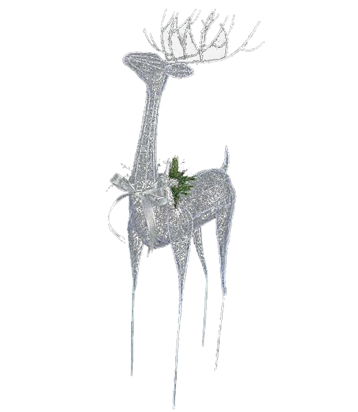 100cm シルバーエレガントシアーレインディア クリスマス装飾 飾り付け 小物 [DIWI61017]