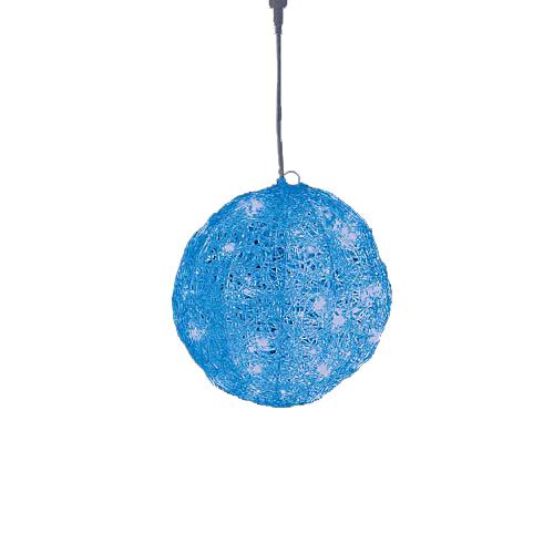LEDブルーグロー立体ボール(常点灯/パワーコード、コネクター付き) 耐水20cm40球広角型