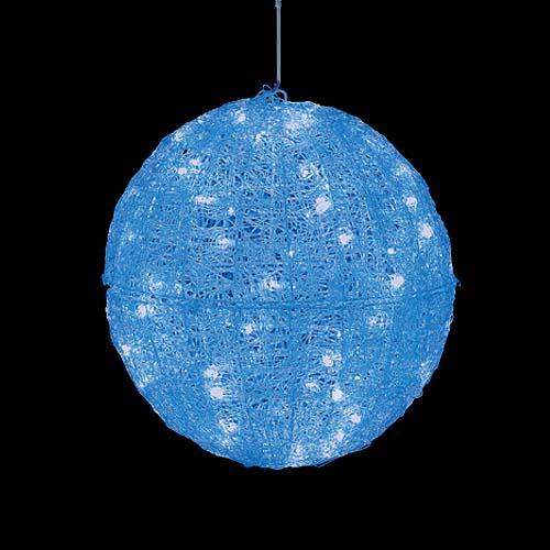 耐水45cm100球広角型LEDブルーグロー立体ボール(常点灯/パワーコード、コネクター付き)