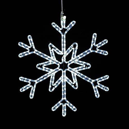 耐水65cm270球広角型LEDホワイトロープライトスノーフレーク(常点灯/パワーコード付き)