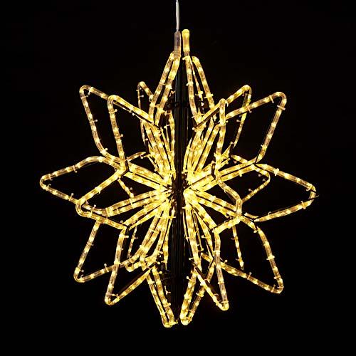 耐水65cm540球広角型LEDシャンペーンロープライト立体スター(常点灯/パワーコード付き)