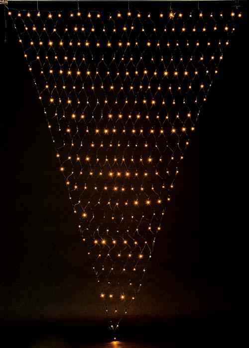 耐水300球広角型LEDシャンペーントライアングルネットライト/ブラックコード(常点灯・閃光/パワーコード、コネクター付き)