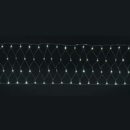 LEDホワイトレクタンギュラーネットライト/ブラックコード(パワーコード、コネクター付き) 耐水200球広角型