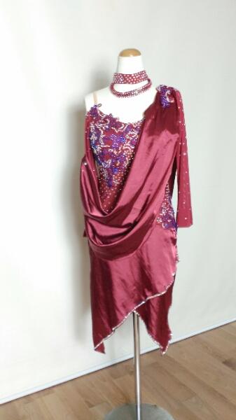 <レンタル>衣装・カラオケ・社交ダンスドレス Lサイズ ワインカラーL080