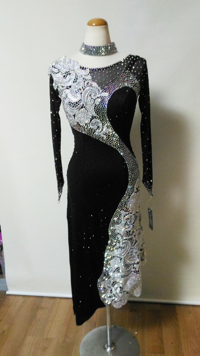 <レンタル>衣装・社交ダンスドレス黒 Mサイズv0285