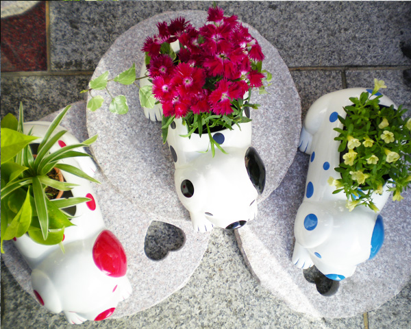Original Dalmatian planter dog planter ceramic animal planter animal planter plant pot terracotta gardening * clarity stones