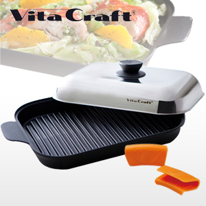 ビタクラフト グリルパン シリコングリップ付 ガス・IH対応 電磁調理器 Vita Craft 3001 JAN: 4973673330018【送料無料】【あす楽対応】【SPS】