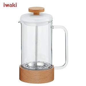 耐熱ガラスに磁器と木を組み合わせた、お洒落なコーヒーシリーズです。 JAN:4905284155292 イワキ iwaki SNOWTOP (スノートップ) コーヒープレス 480ml K6405-M /耐熱ガラス製 /AGCテクノグラス JAN: 4905284155292 【送料無料】 [T]