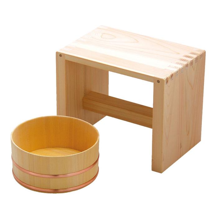 ヤマコー 湯浴セット【湯桶(洗面器)/風呂椅子】83698 木製(ひのき/さわら) 【日本製】 【送料無料】【お取り寄せ商品】