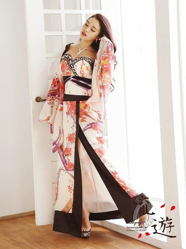 addb92115fd57 ... 予約販売花魁コスプレ衣装和柄ドレスコンパニオン衣装着物ドレス流遊和柄 ...