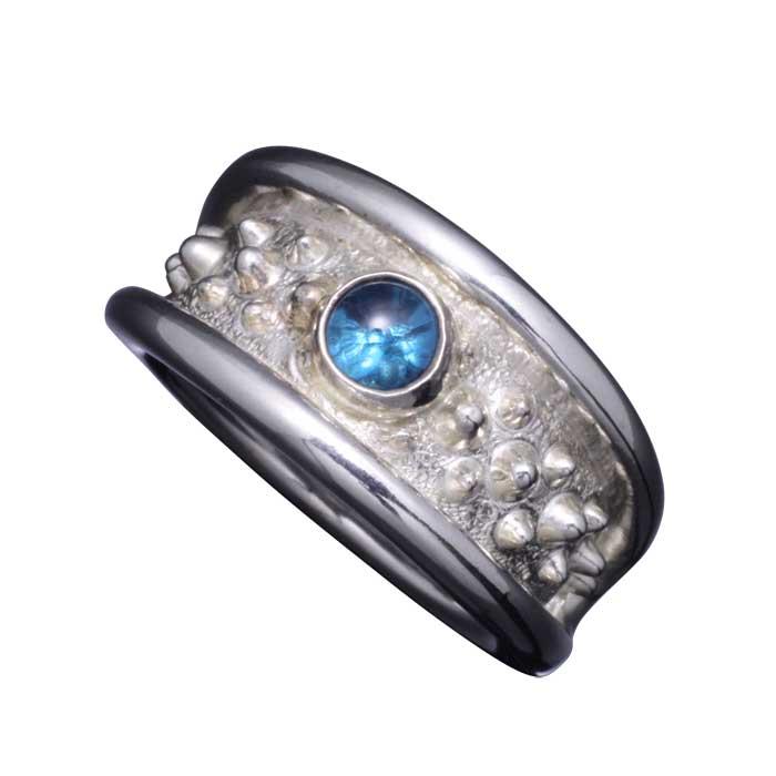指輪 メンズ 送料無料 龍頭 霰 リング 小 ブルートパーズ シルバー 和柄 和風 男性用 ギフト プレゼント 大きい 小さい サイズ 伝統技法 12~28号