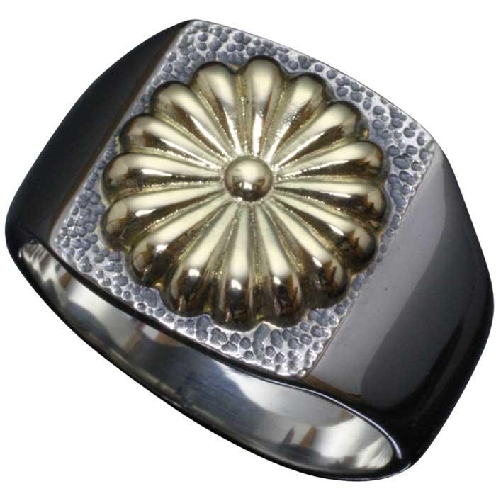 指輪 メンズ シルバー K18 ゴールド 龍頭 菊紋 印台 リング 菊花紋章 紋章 家紋 愛国 菊の紋章 10号~28号