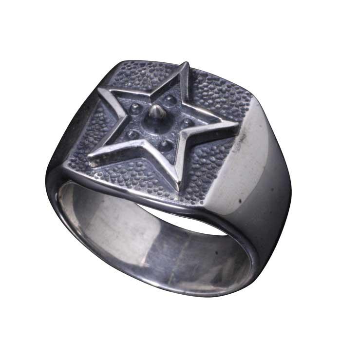 指輪 メンズ シルバー 龍頭 霰 星 印台 リング シルバーリング 和柄 和風 男性用 ブランド ギフト プレゼント 10号~28号