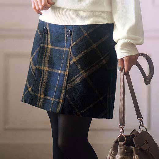 b7e7bac2b8a4 スカートSMLLLインナーパンツ付チェック柄台形スカート(S~LL)ryuryuリュリュ